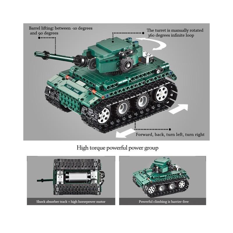 Cada 313 Uds RC militar Tigre 1 tanques de construcción bloques Compatible técnica WW2 mundo Ejército alemán ladrillos juguet...