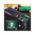 Conjunto de teclado para videojuegos, teclados iluminados RGB, teclado USB 104 con alfombrilla de ratón de juego silenciosa, ...