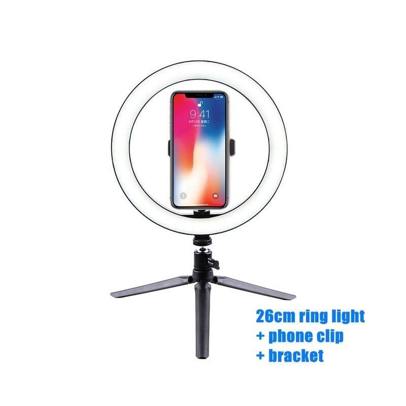 Anillo de luz Led para Selfie de 10 pulgadas y 26cm para teléfono móvil, anillo de luz con trípode para cámara de vídeo de Yo...