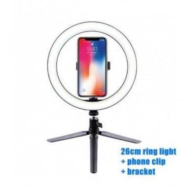 Anillo de luz Led para Selfie de 10 pulgadas y 26cm para teléfono móvil, anillo de luz con trípode para cámara de vídeo de Youtu