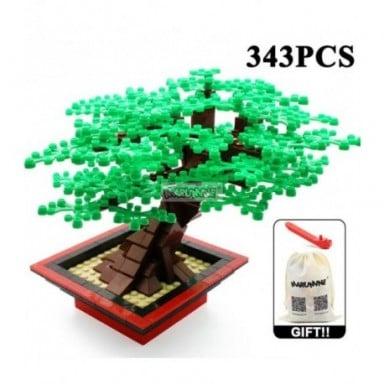 Conjunto de ladrillos de bloques de construcción MOC de Marumine, árbol en miniatura, 205/343 Uds., accesorios de plantas, parte