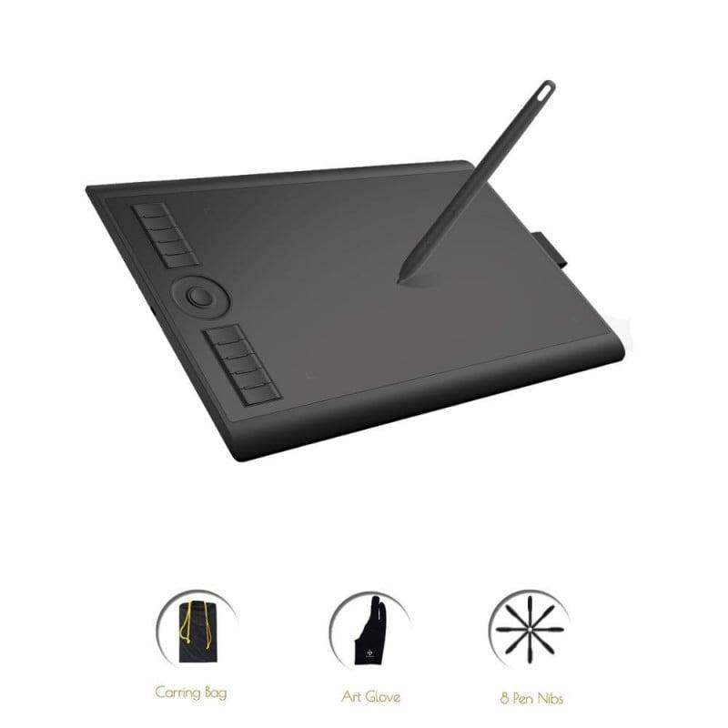 GAOMON M10K versión 2018 10 x 6,25 pulgadas, tableta para dibujo gráfico con bolígrafo, bolígrafo pasivo de 8192 niveles de p...