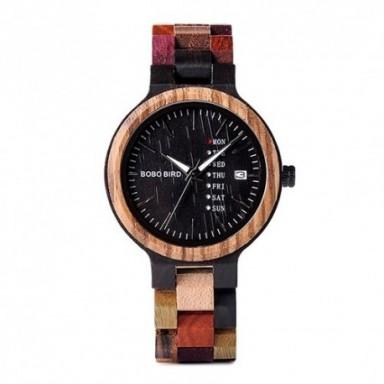 BOBO BIRD Luxury Wood Men Watch relogio masculino Designer Auto fecha colores relojes para hombres reloj de pulsera de cuarzo he