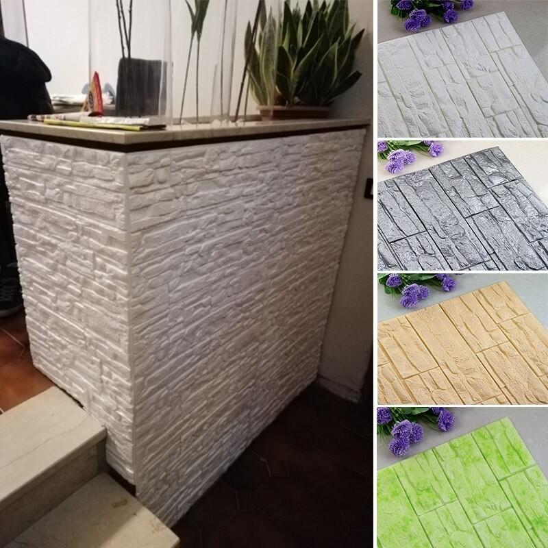 Adhesivos para pared DIY de espuma de PE y ladrillo 3D, pegatinas para paneles para habitación, decoración de piedra en relie...