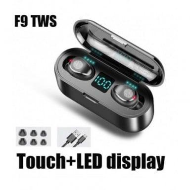 Auriculares inalámbricos F9 TWS Bluetooth 5,0, auriculares con Control táctil, auriculares estéreo deportivos, auriculares con p