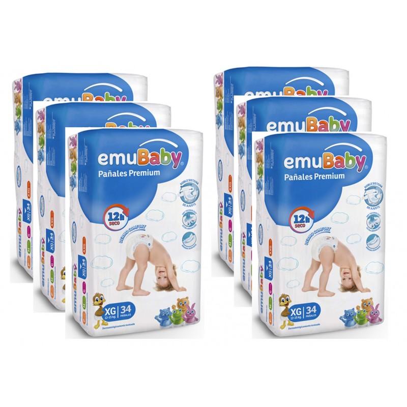 Pañales Desechables EMUBABY Premium XG 34 un. Pack 6 bolsas Niños