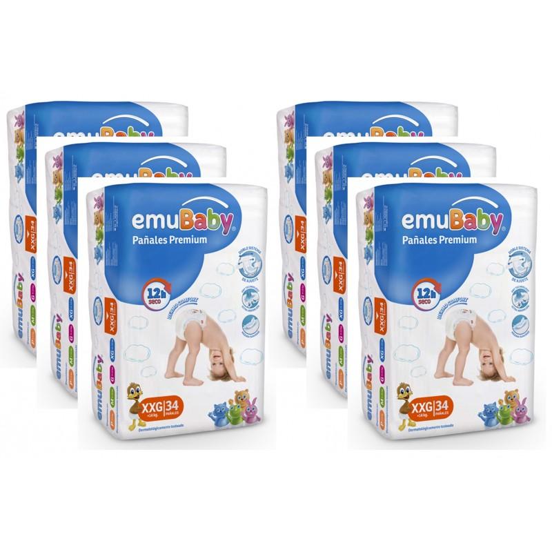 Pañales Desechables EMUBABY Premium XXG 34 un. Pack 6 unidades Niños