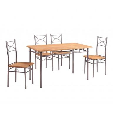 Set de comedor para 4 personas color madera clara