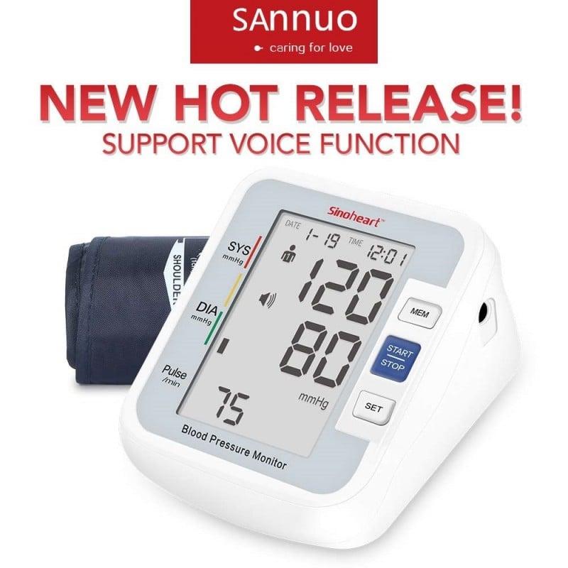 Sinocare-tensiómetro automático Digital para la parte superior del brazo, medidor de presión arterial, frecuencia cardíaca, p...