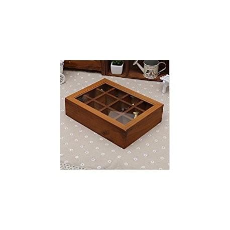 Caja de Té de madera de 12 compartimientos Cocina