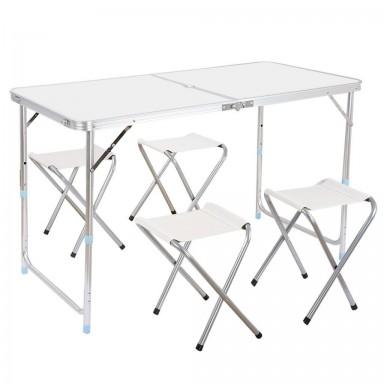 Mesa de camping plegable con sillas