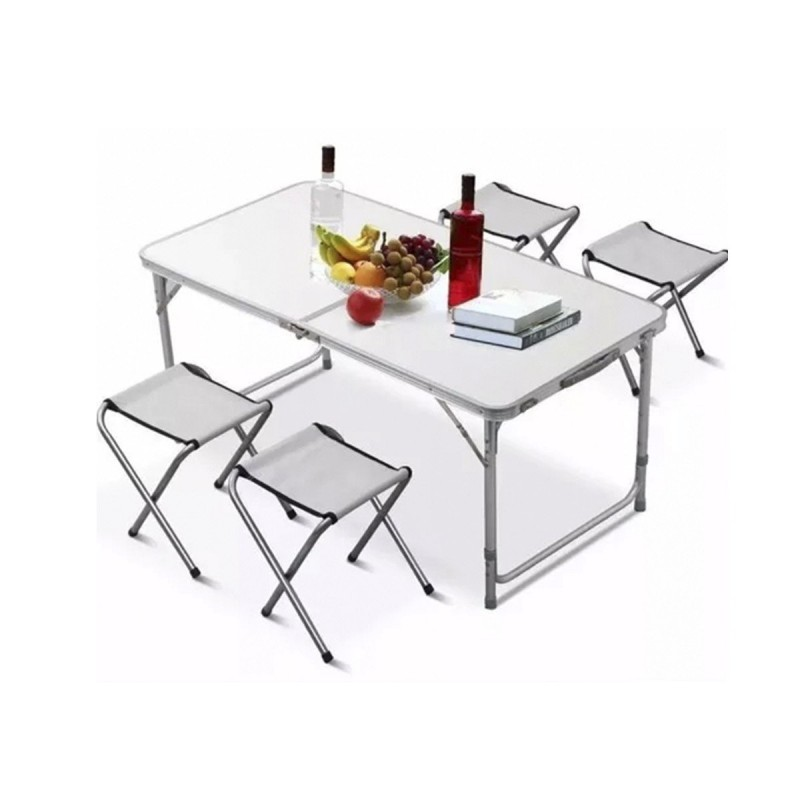 Mesa de camping plegable con sillas for Mesa plegable 4 sillas