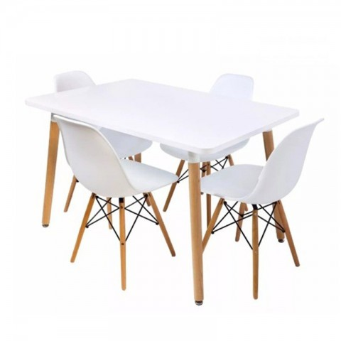 4 sillas Eames + Mesa rectangular 120x80 Mesas