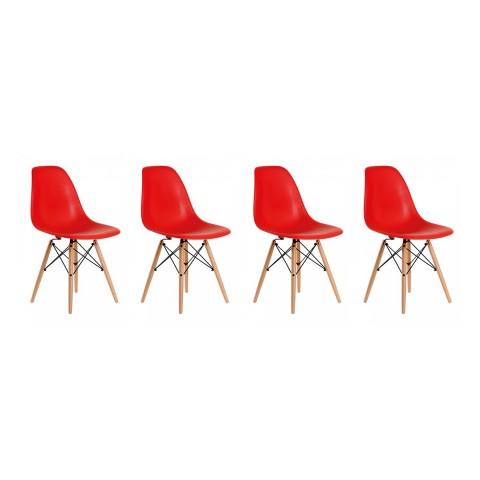 Sillas Eames DSW. Juego Cuatro Sillas Color Rojo Sillas Modernas Tipo Eames DSW
