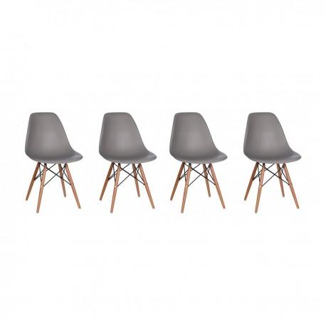 Pack de 4 Sillas Modernas tipo Eames DSW Color Gris Inicio