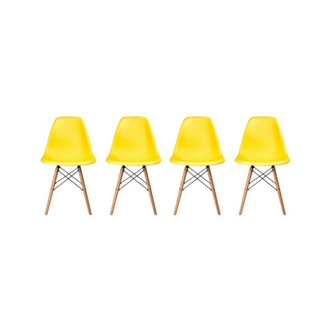 Pack de 4 Sillas Modernas tipo Eames DSW Color Amarillo Sillas Modernas Tipo Eames DSW