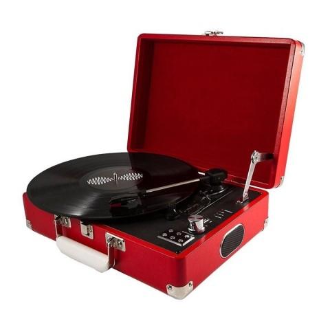 Tocadisco 3 velocidades con maleta roja Tocadiscos