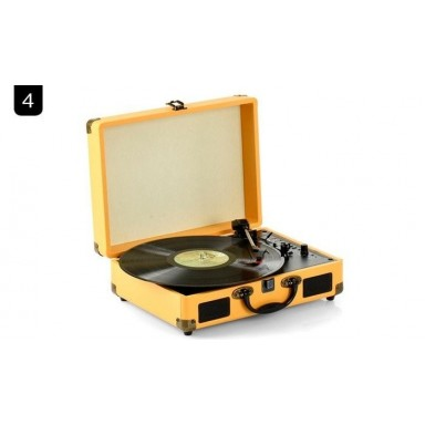 Tocadisco Bluetooth Café Claro con Maleta + Grabador MP3