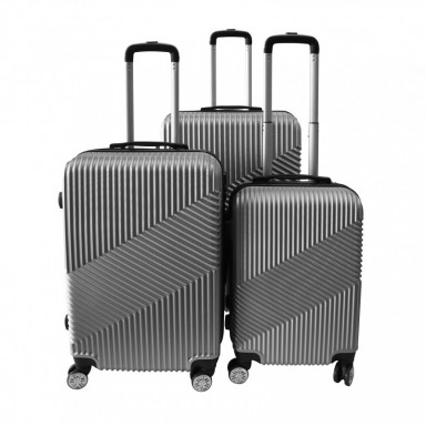 Set 3 maletas rigidas con giro 360° Plateado