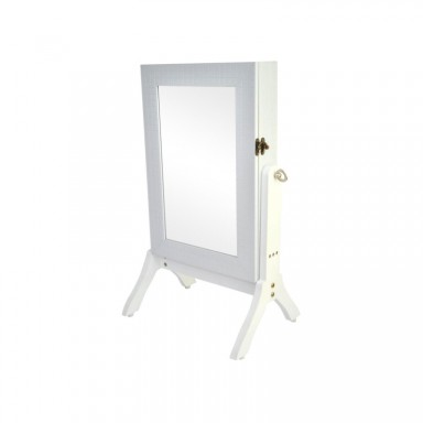 Mini espejo joyero blanco