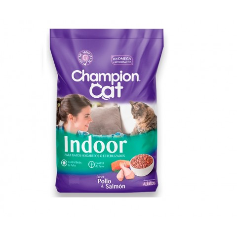 Alimento Gatos. Champion Cat Indoor Pollo & Salmon. Pack 6 x 3 kgrs Mascotas
