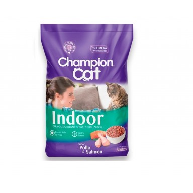 Alimento Gatos. Champion Cat Indoor Pollo & Salmon. Pack 6 x 3 kgrs