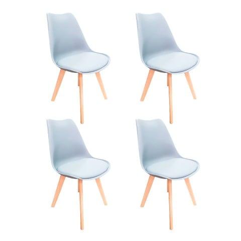 Pack 4 Sillas Eames Acolchadas Blancas Sillas Modernas Tipo Eames DSW