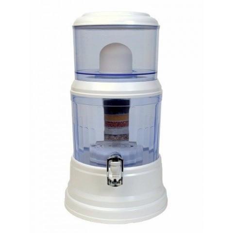 Dispensador y filtro de agua con piedras purificadoras de 16L Inicio