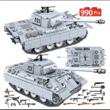 990 Uds. Tanque militar Pantera 121 bloques de construcción para Technic City WW2 tanque soldado arma ejército 100064 ladrillos