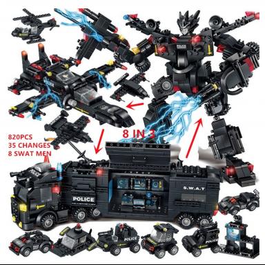 820 Uds. Niños regalos de navidad ladrillos policía Robot SWAT camión transformación educación Juguetes de bloques de construcci
