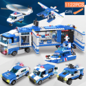 1122 piezas de SWAT de la policía de la ciudad de serie bloques de construcción del vehículo helicóptero de policía de la ciu...