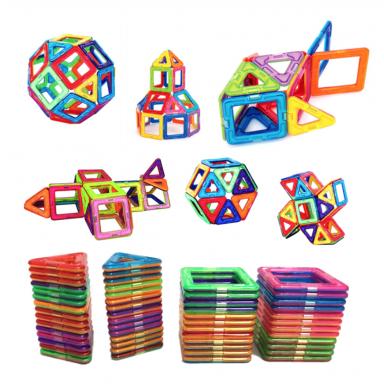 Bloques de construcción magnéticos de tamaño grande 54 Uds., triángulo cuadrado, ladrillo de diseñador, ladrillos magnéticos, ju