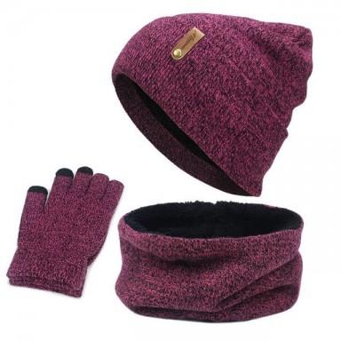 Unisex Beanies anillo con diseño de sombrero bufanda guantes Set invierno tejido grueso cálido Cap mujeres hombres sólido Retro