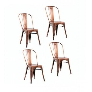 Sillas de comedor diseño Tolix cobre